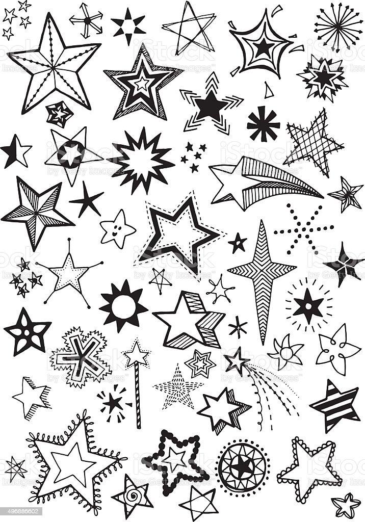 Doodle Stars vector art illustration