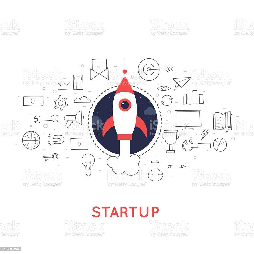 Doodle Start up, rocket launch vector art illustration
