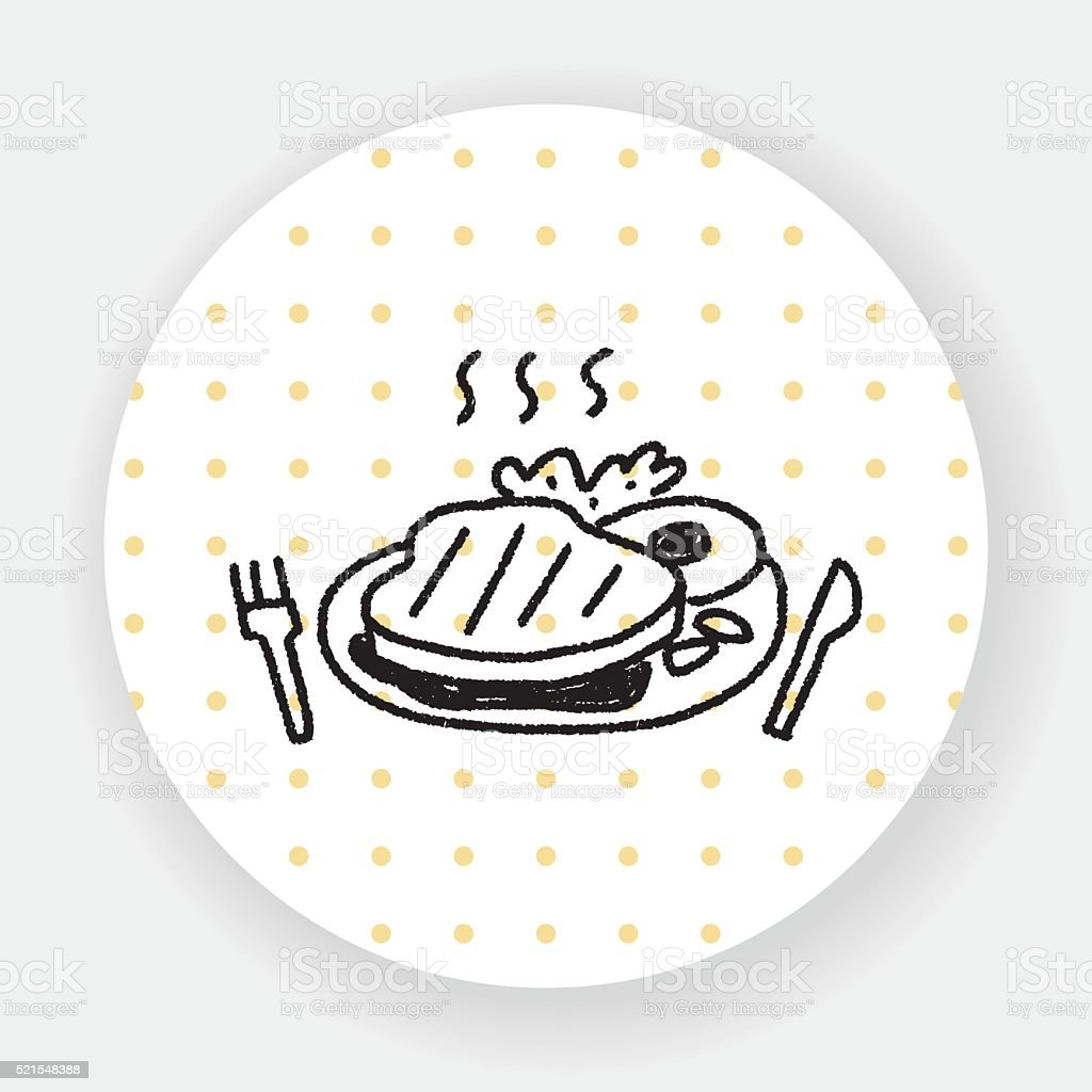 doodle steak vector art illustration