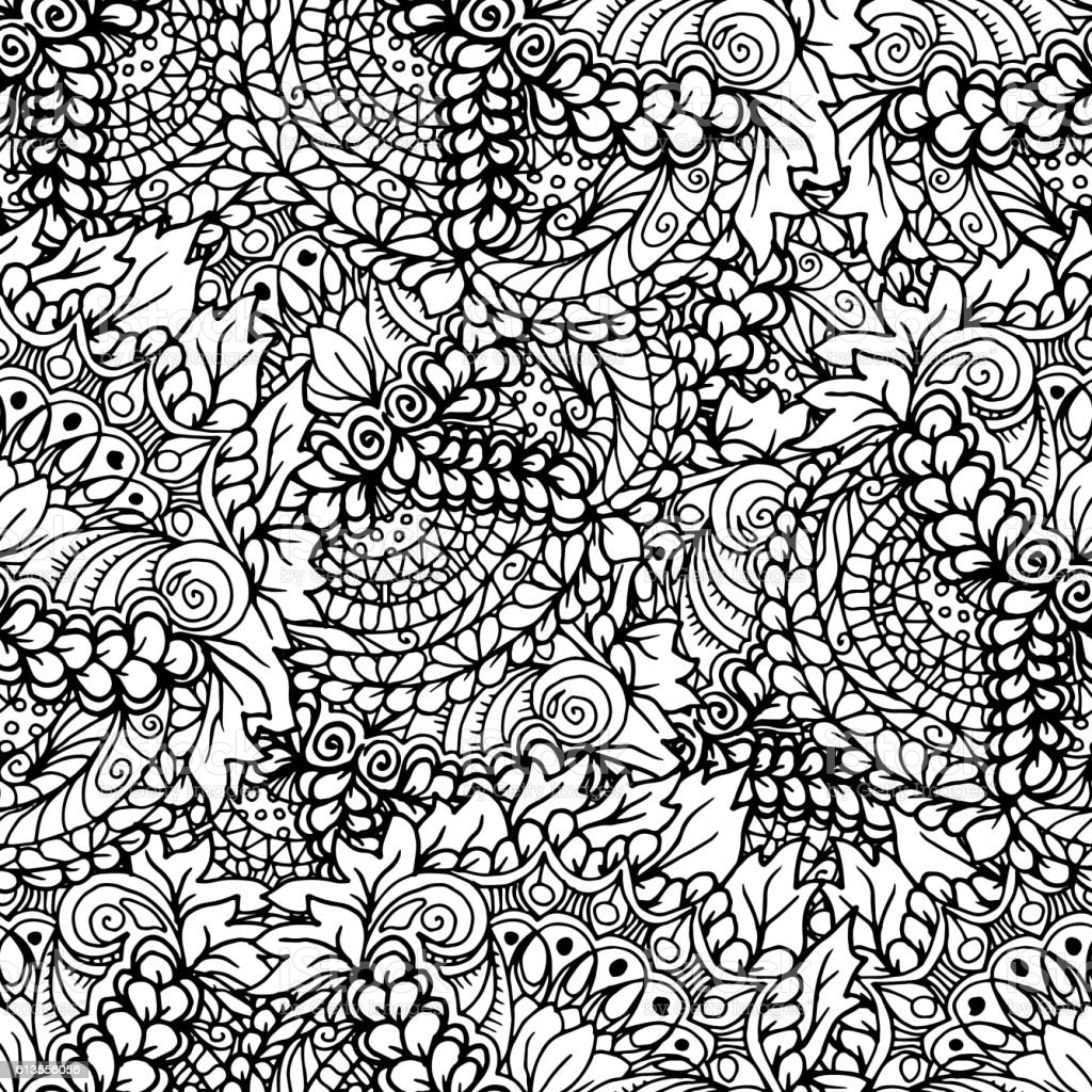 Doodle style floral garden seamless pattern. vector art illustration