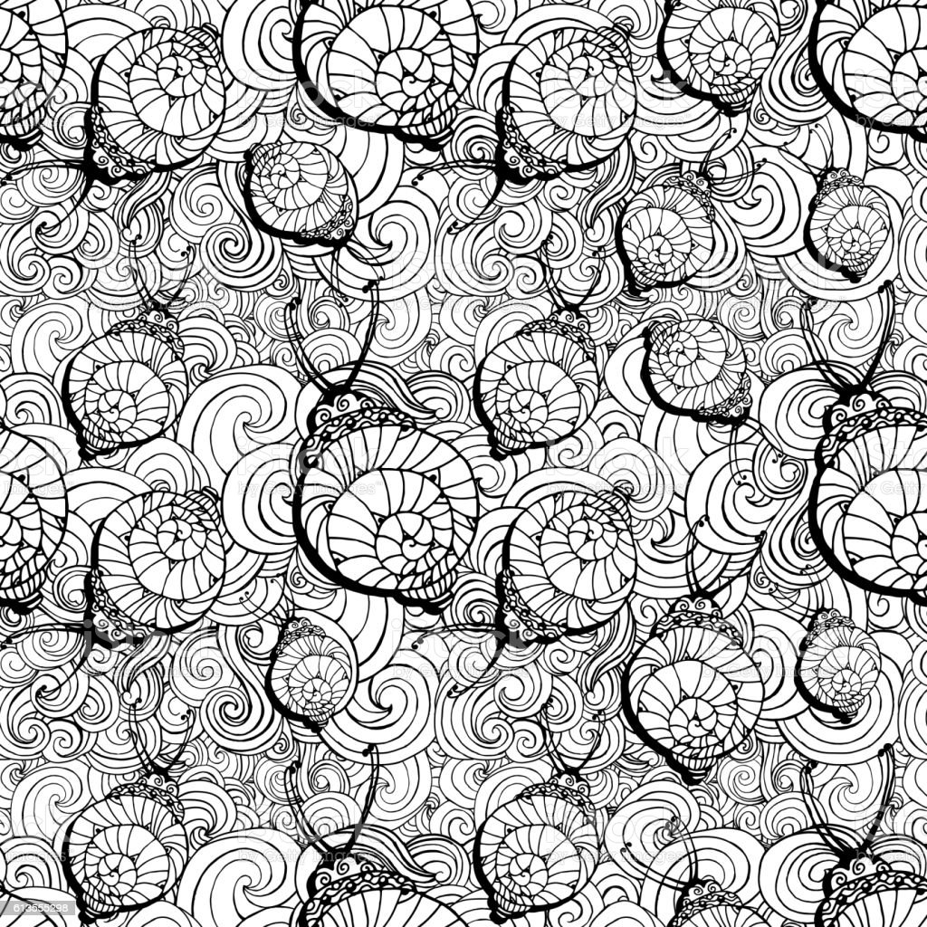 Doodle style fun lacy snail, seamless animal and patterm For vector art illustration
