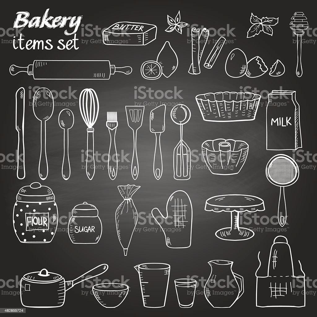 Doodle style kitchen utensil for baking vector art illustration