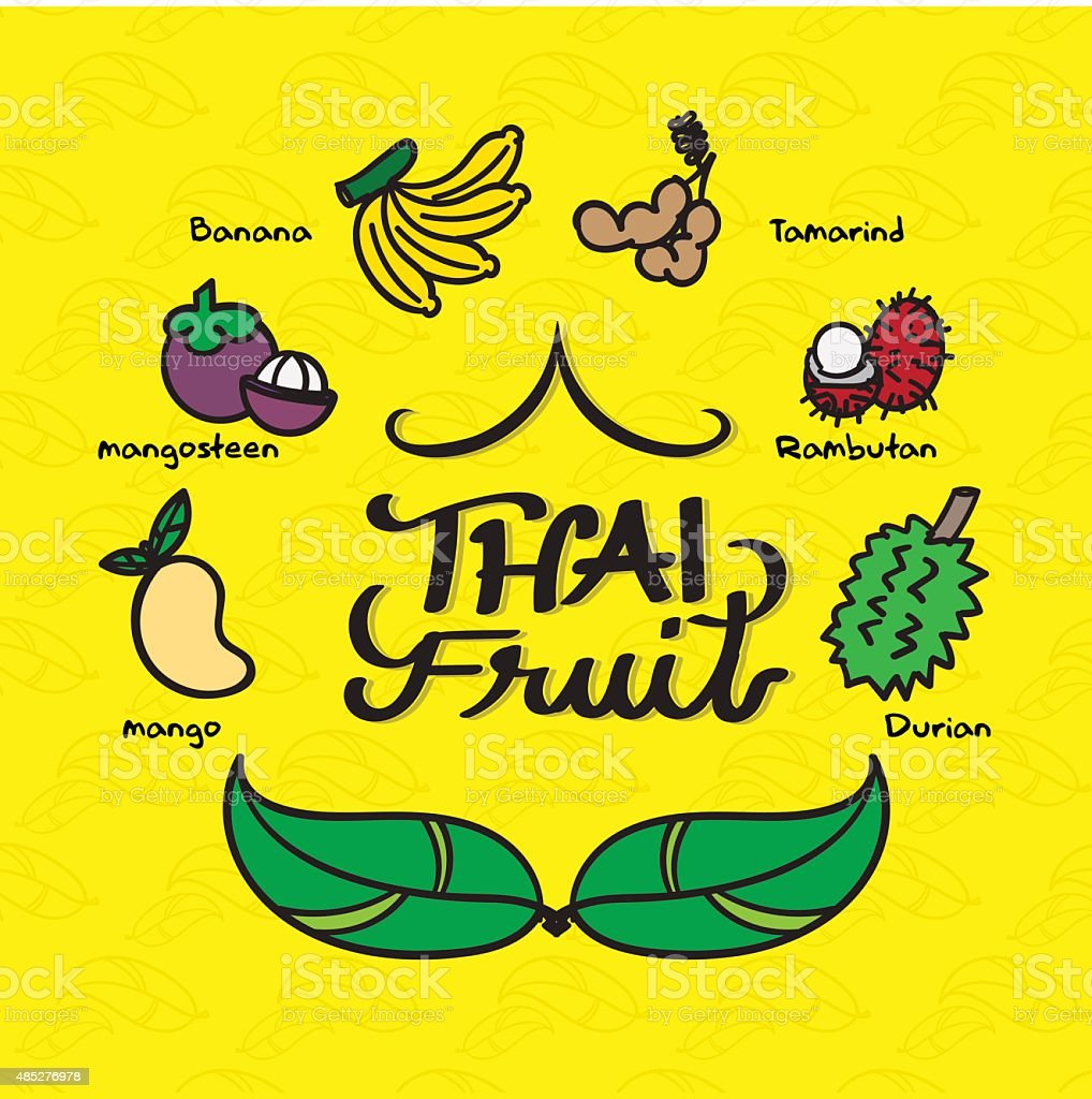Doodle style of many kind of Thai fruit on yellow vector art illustration