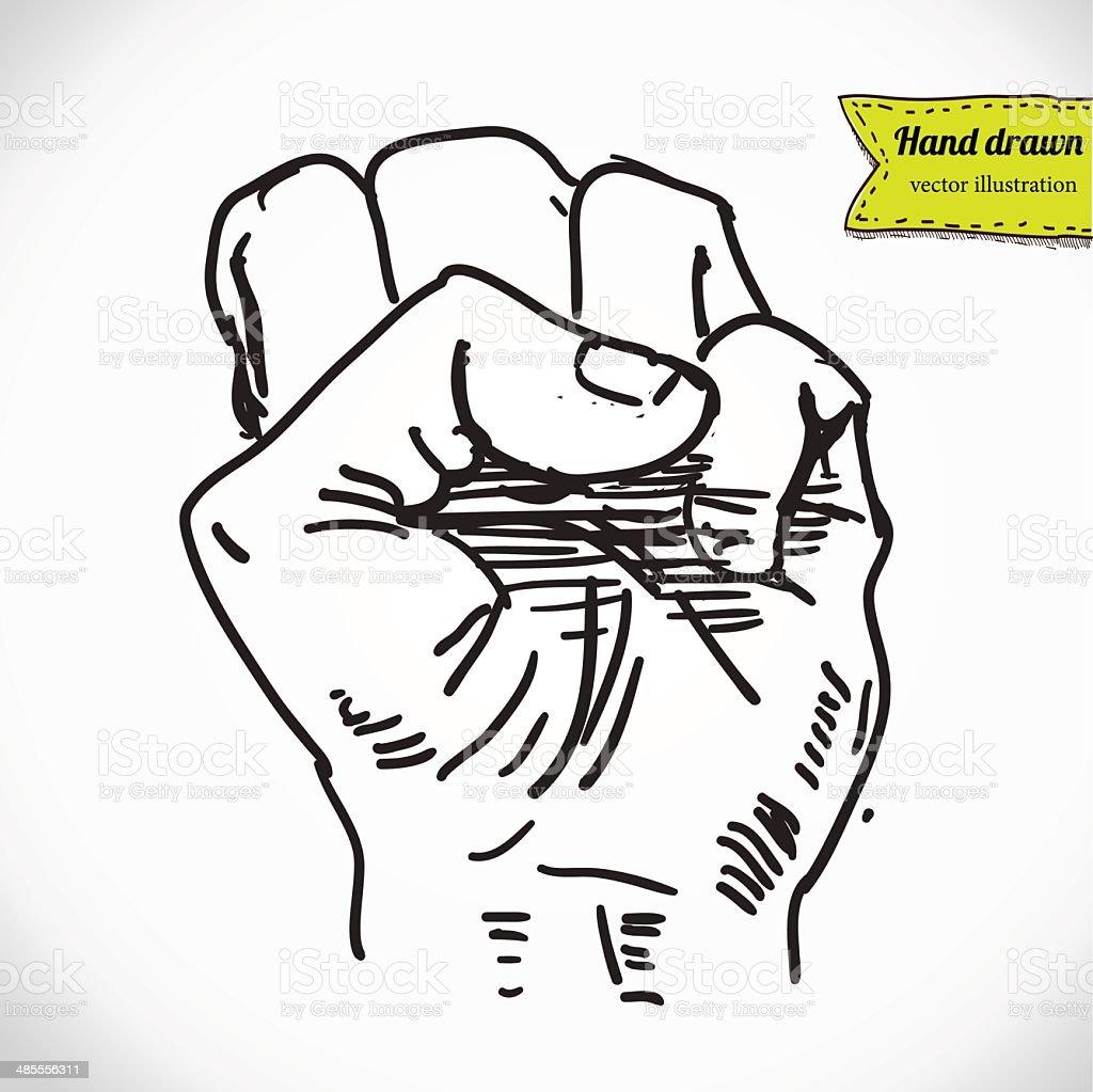 Doodle style protest fist vector illustration vector art illustration