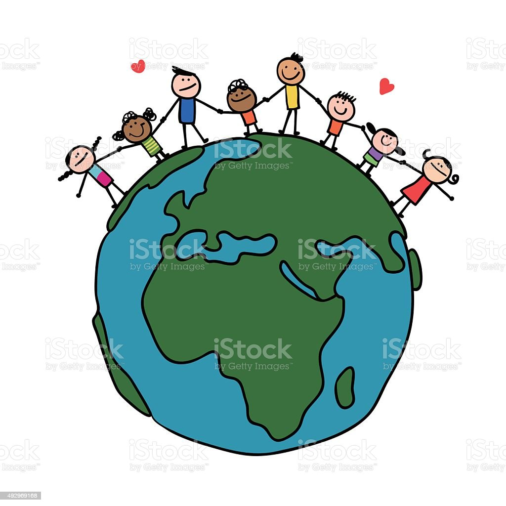 Doodle style, smiling stick figure families holding hands on Earth vector art illustration