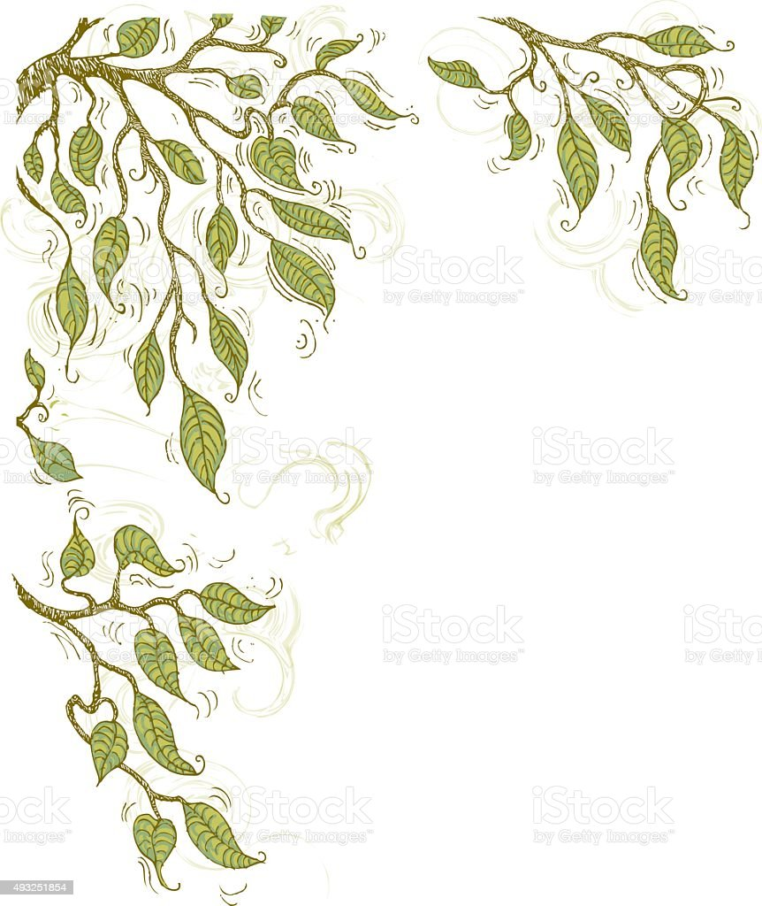 Doodle summer tree branches corner element vector art illustration
