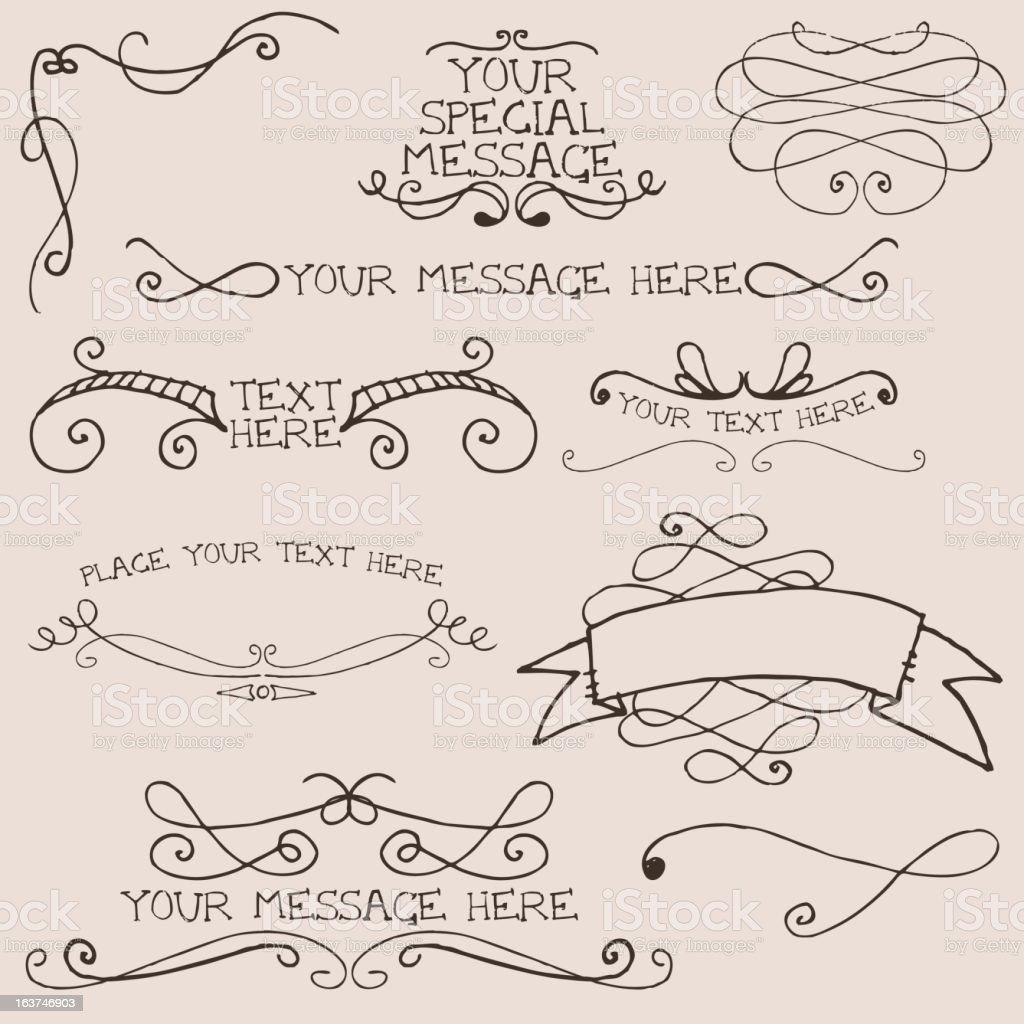 Doodle swirl elements vector art illustration