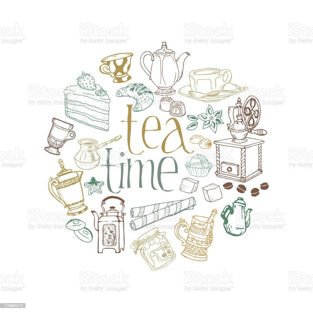Doodle Tea and Dessert Card vector art illustration