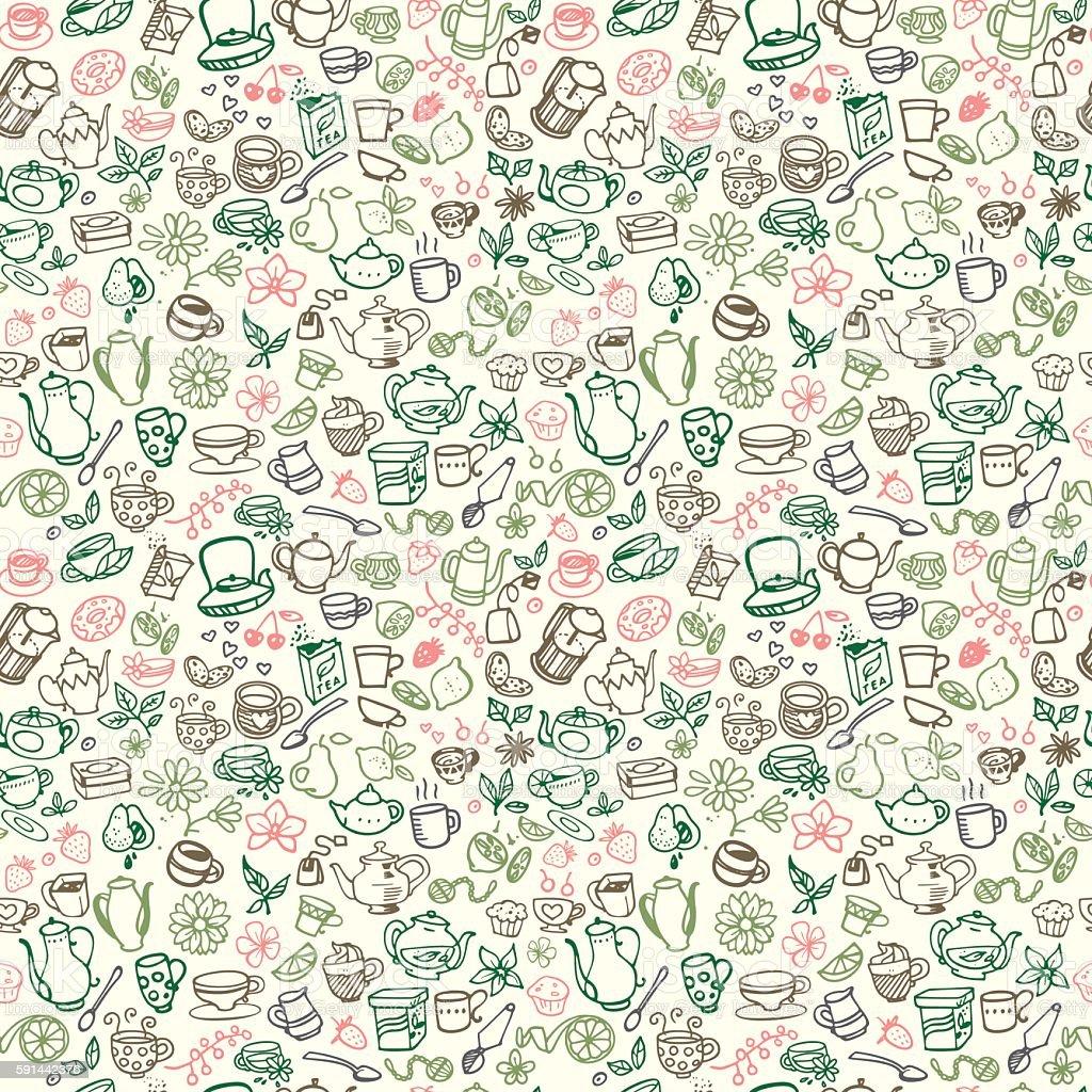 doodle tea icons vector art illustration