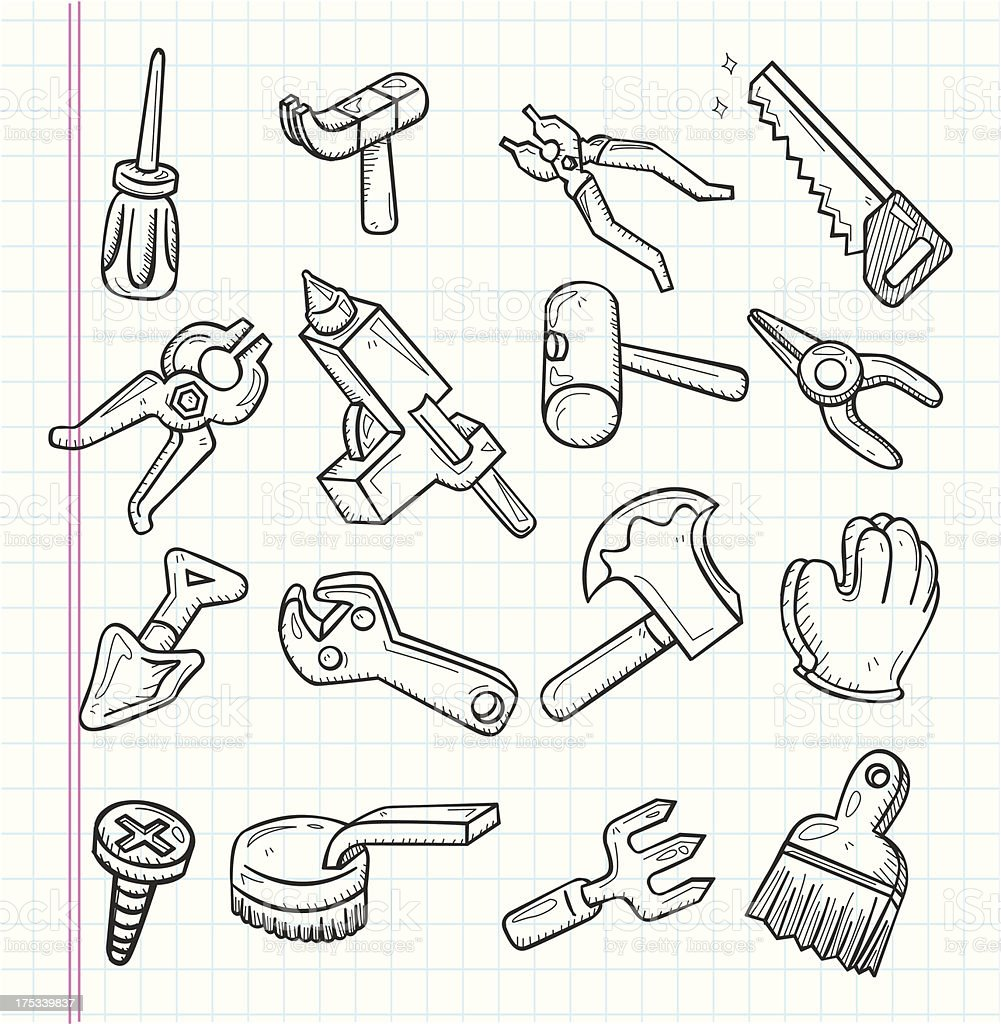 doodle tools icon royalty-free stock vector art
