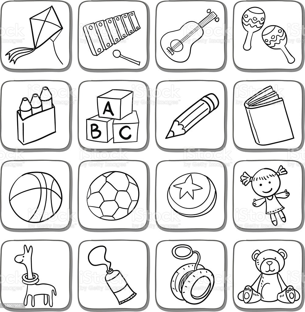 Doodle toy icon set in black and white vector art illustration