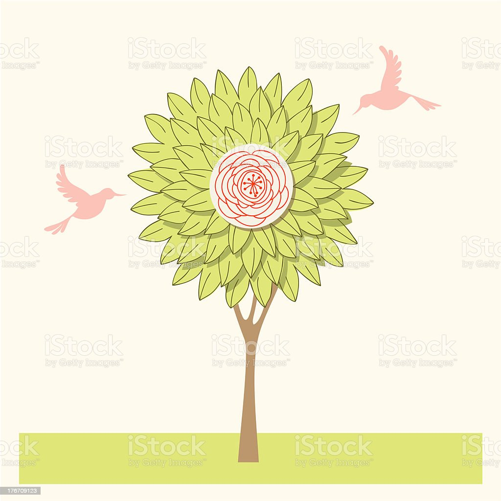 Doodle tree and birds royalty-free stock vector art
