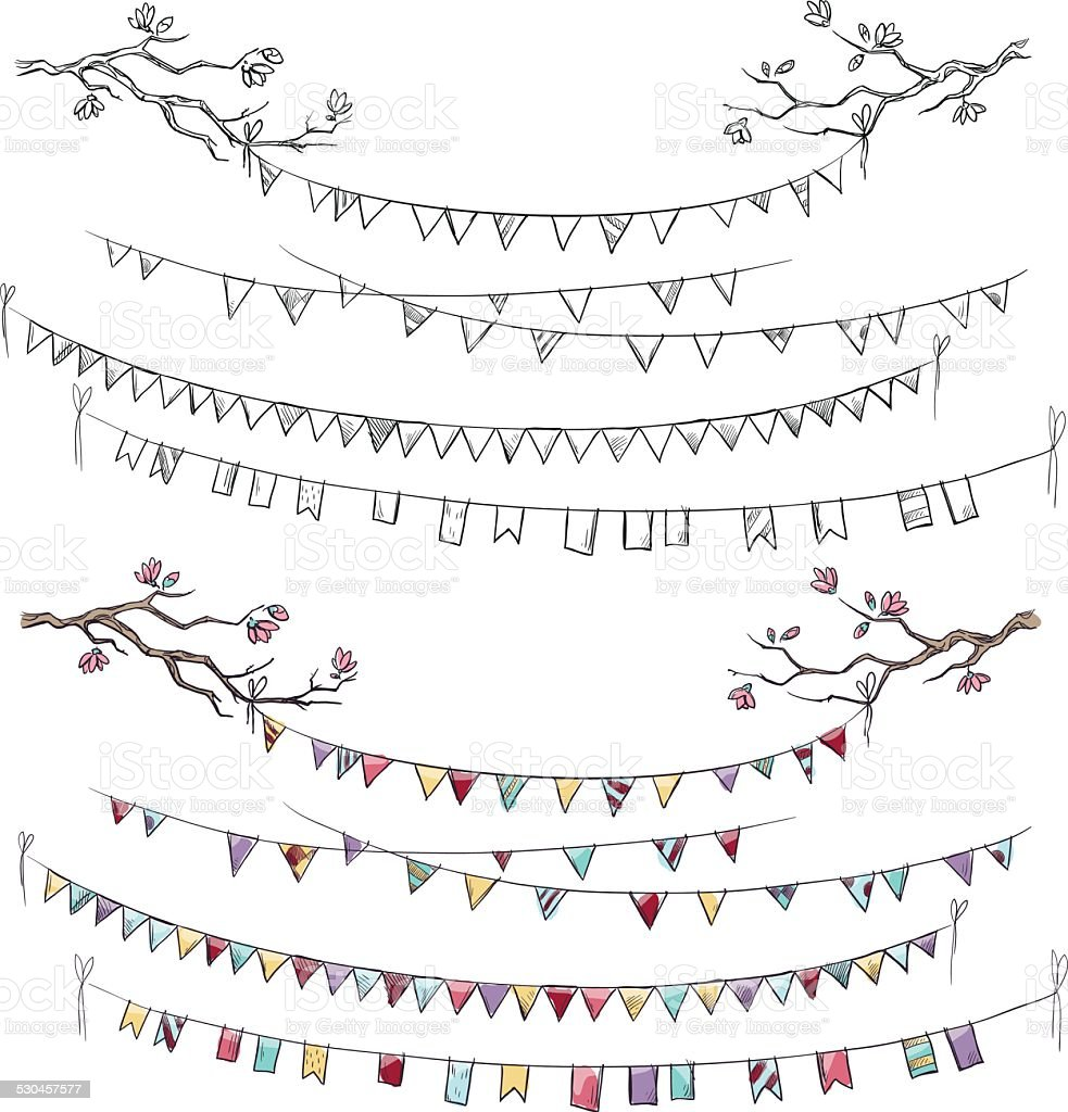 Doodle tree branches and party flags. Garlands. Decorations. Vector illustration. vector art illustration