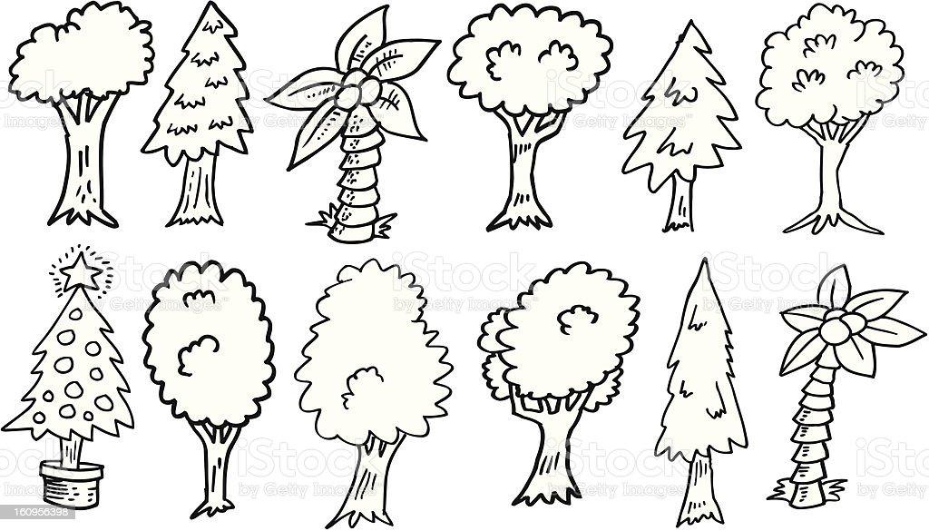 Doodle Tree Set royalty-free stock vector art
