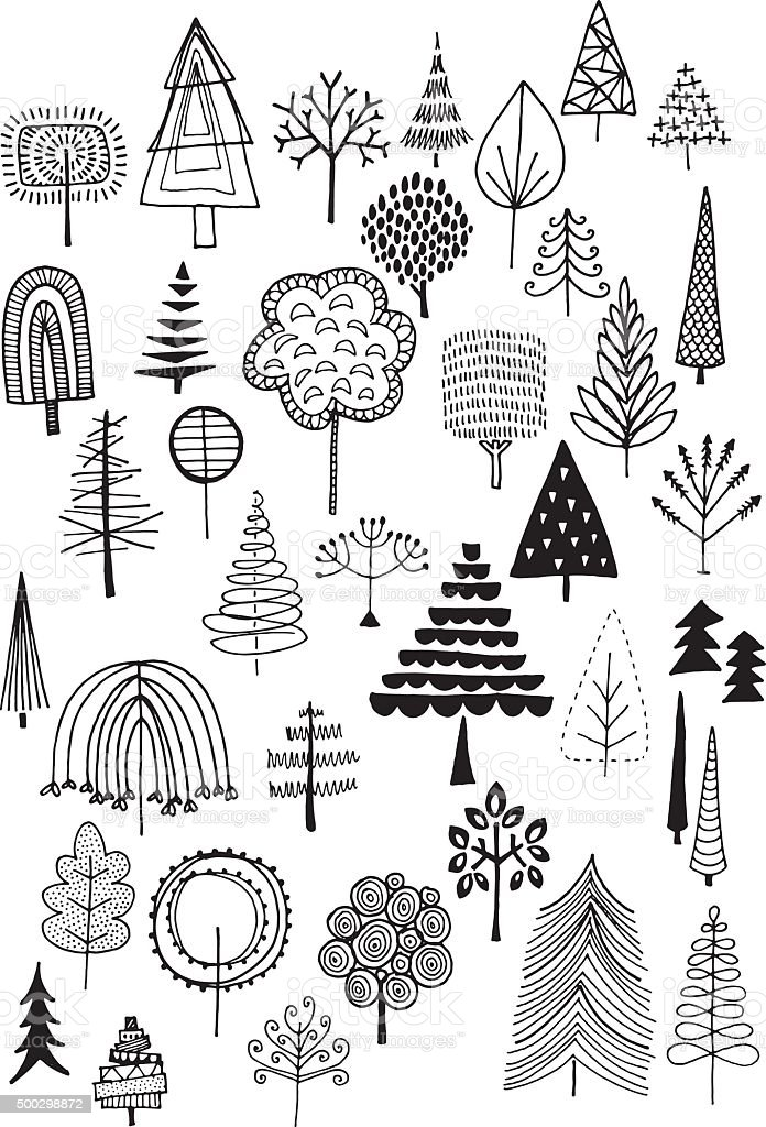Doodle trees vector art illustration
