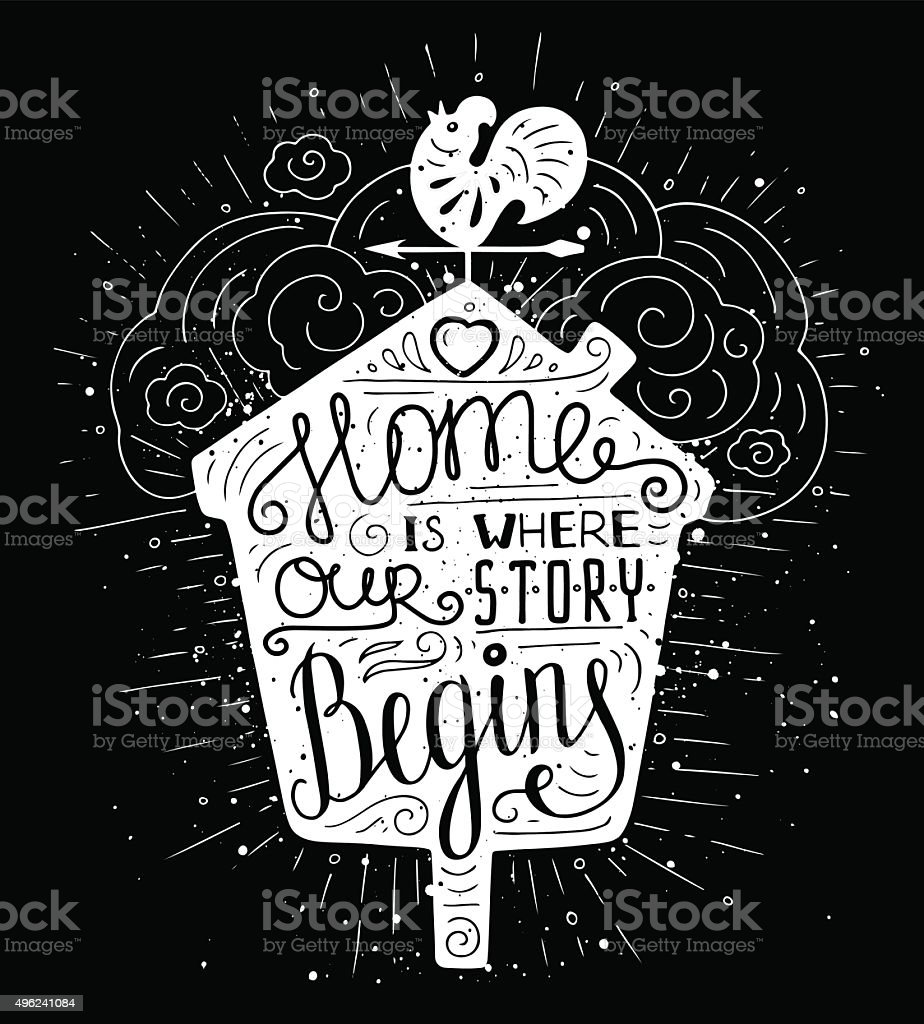 doodle typography poster with nesting box vector art illustration