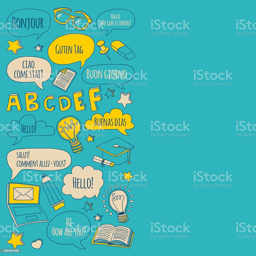 Doodle vector icons Foreing language learning vector art illustration