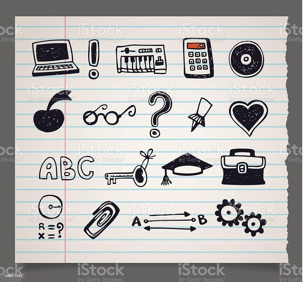 Doodle vector school items icons vector art illustration
