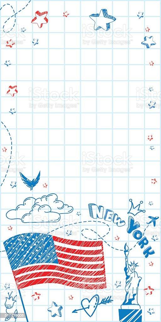 USA doodle vertical banner vector art illustration