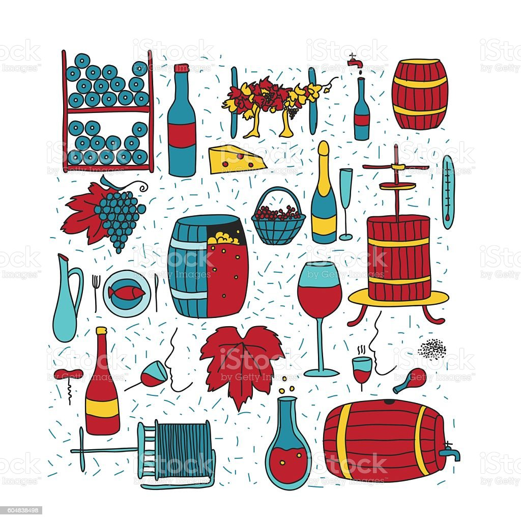 doodle wine color vector art illustration
