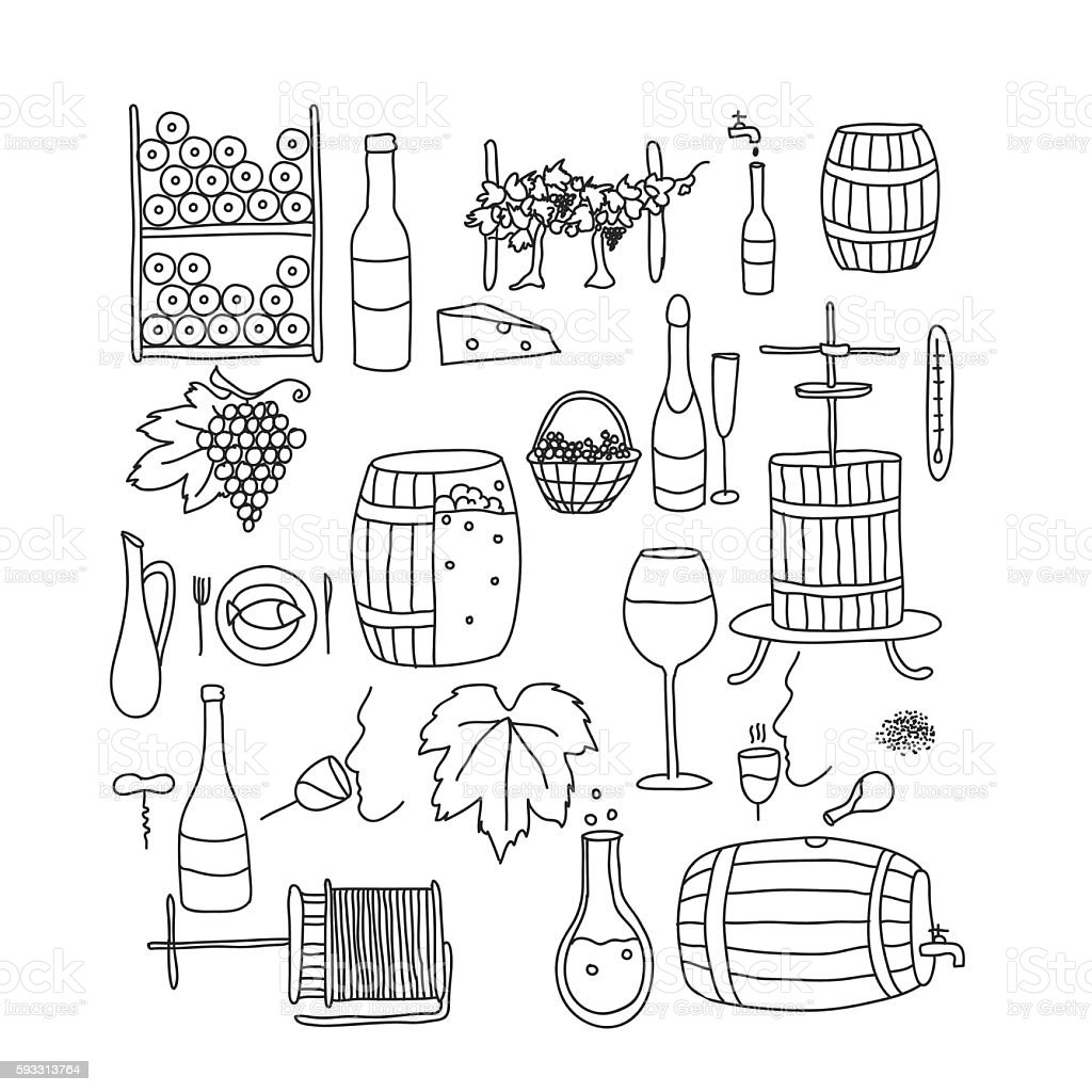 doodle wine line vector art illustration