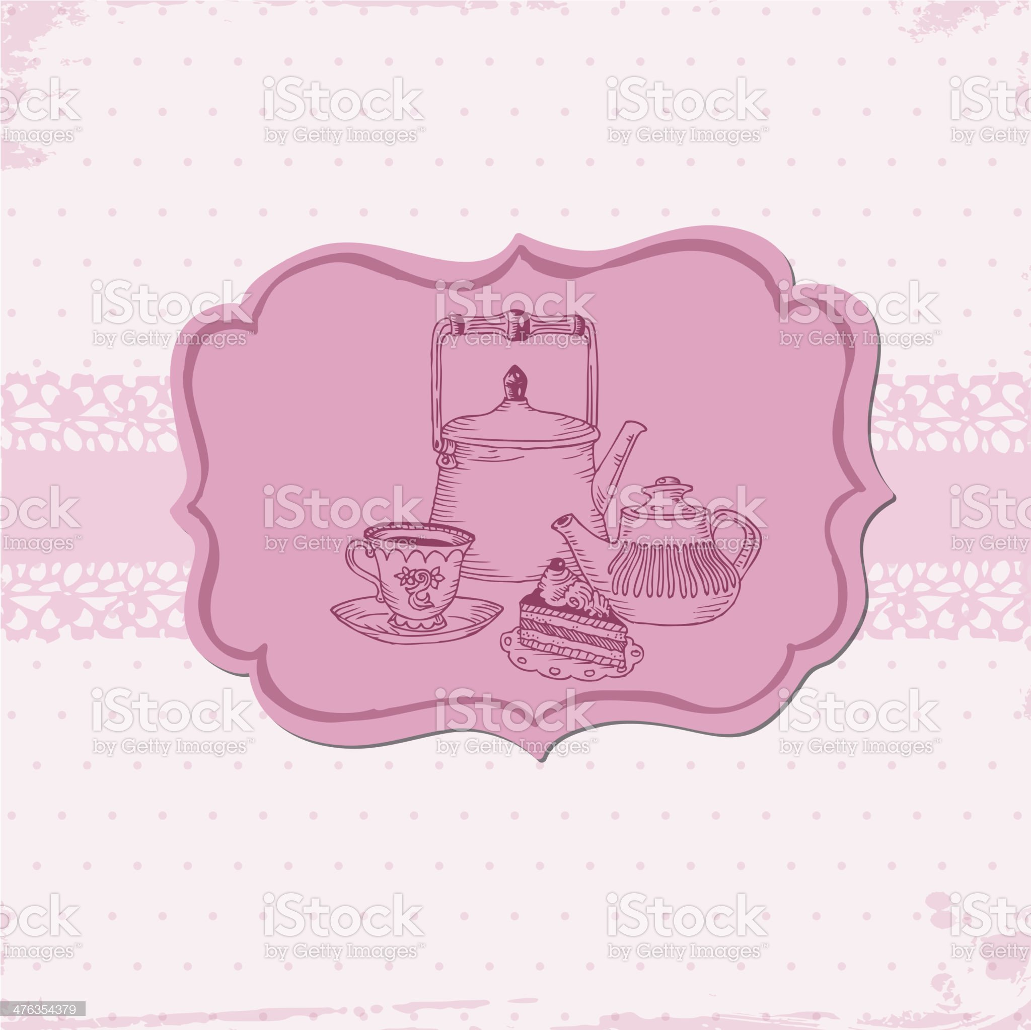 Doodled Desserts & Tea Card royalty-free stock vector art