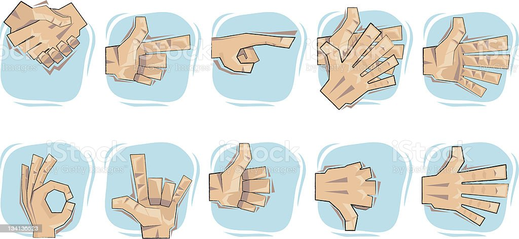Doodled Hand Sign Icon set. royalty-free stock vector art