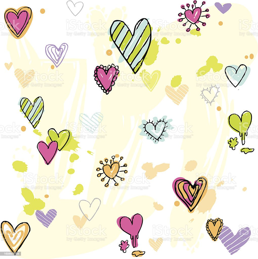 Doodled Hearts background vector art illustration