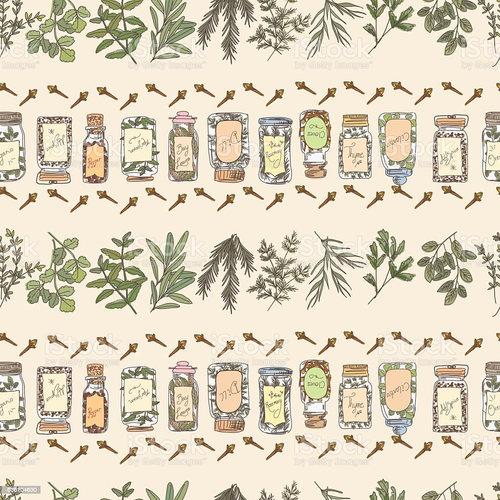 Doodled Herbs And Spices Seamless Repeating Pattern vector art illustration