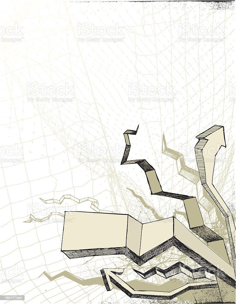 Doodles, arrows and frames on mesh background vector art illustration