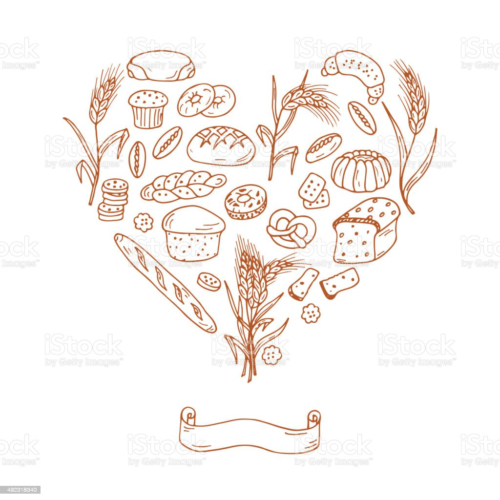 Doodles Bread Baking Vector Set in Heart shaped vector art illustration