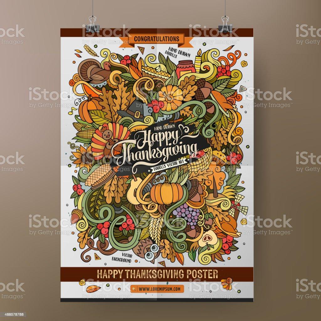 Doodles cartoon colorful Happy Thanksgiving hand drawn plackard vector art illustration