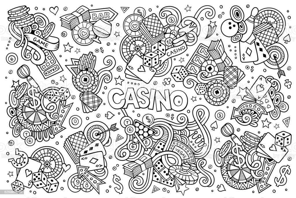Doodles cartoon set of Casino objects vector art illustration