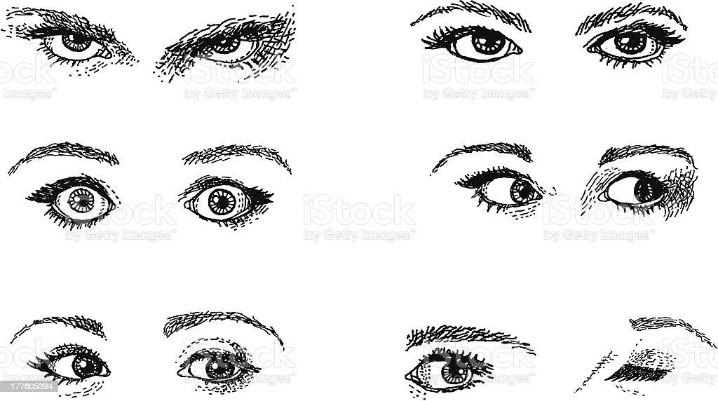 Doodles. Expressive Eyes vector art illustration