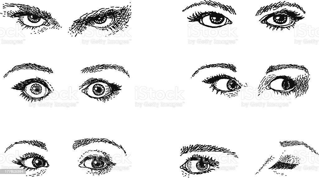 Doodles. Expressive Eyes vector art illustration