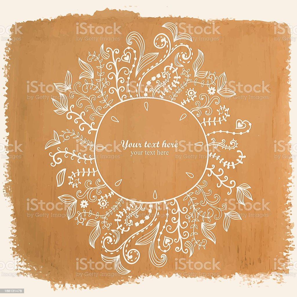 Doodles floral frame on grunge paper, royalty-free stock vector art