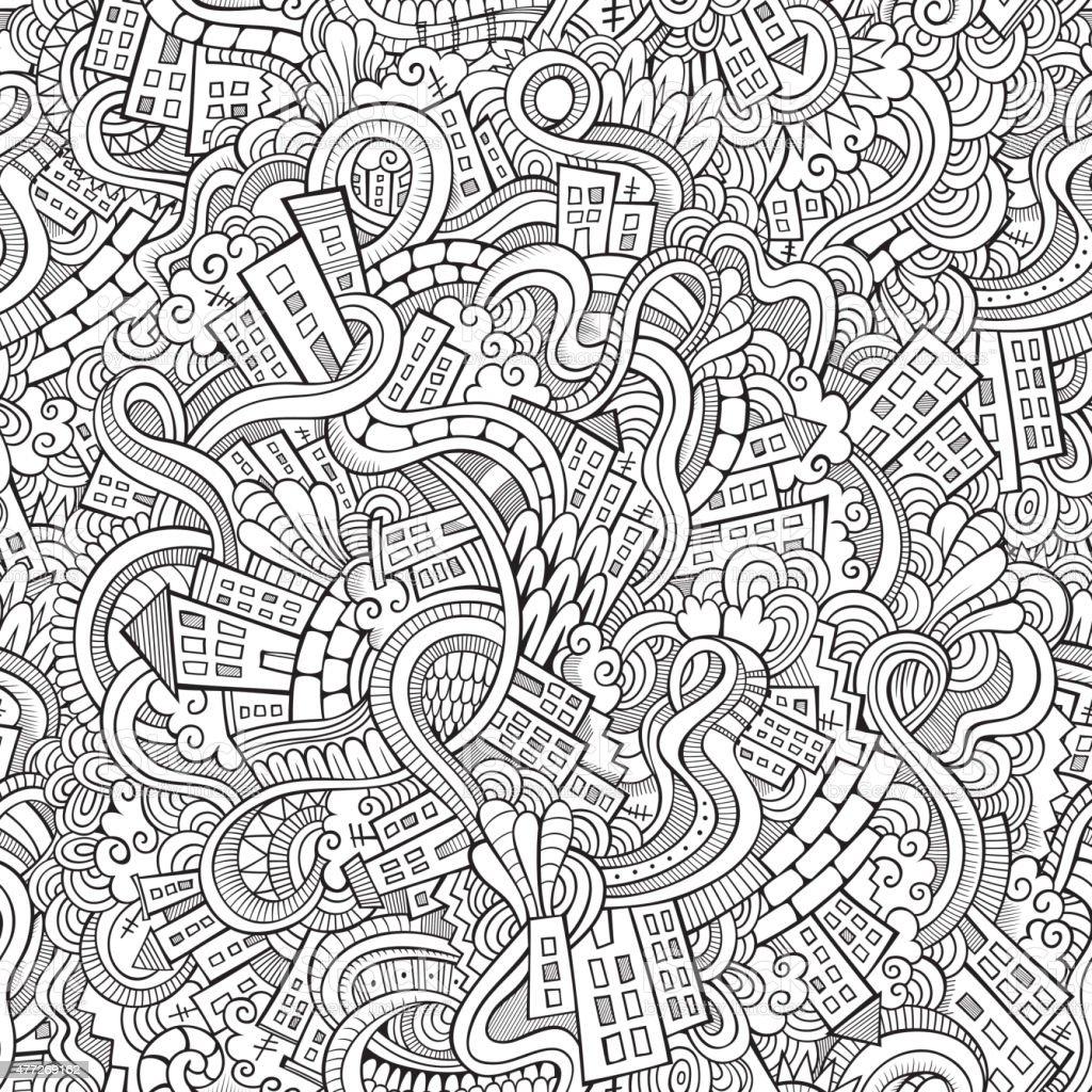 doodles hand drawn town. seamless pattern vector art illustration