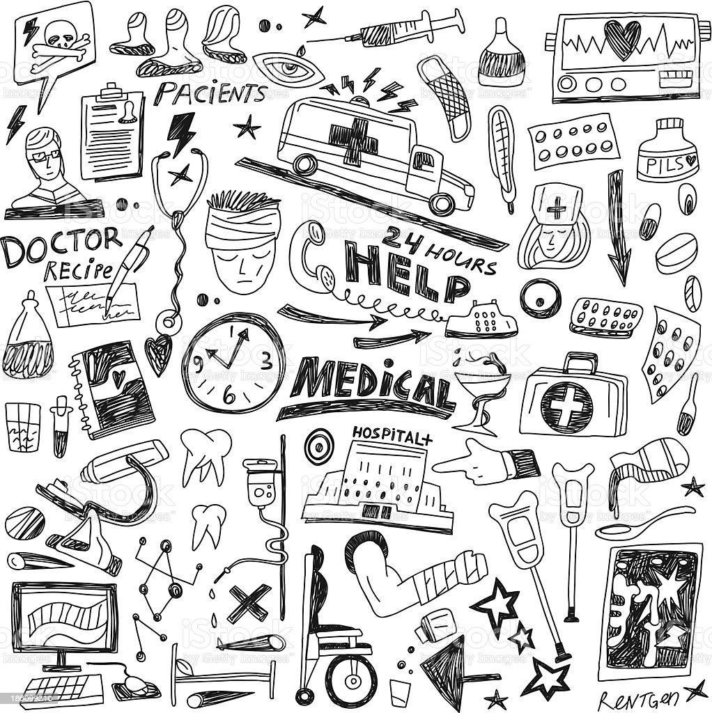 Doodles in the theme of medicine royalty-free stock vector art