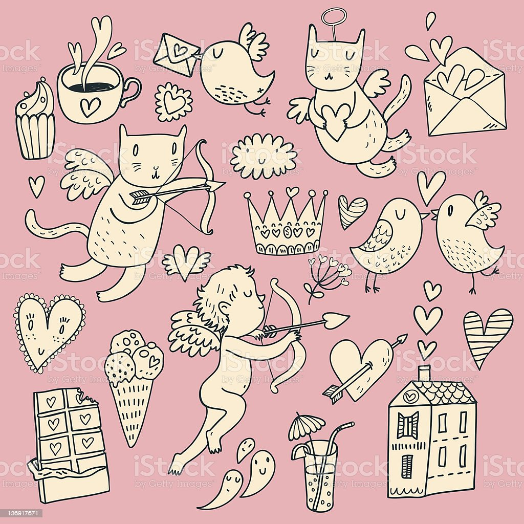 Doodles of romance set against pink royalty-free stock vector art
