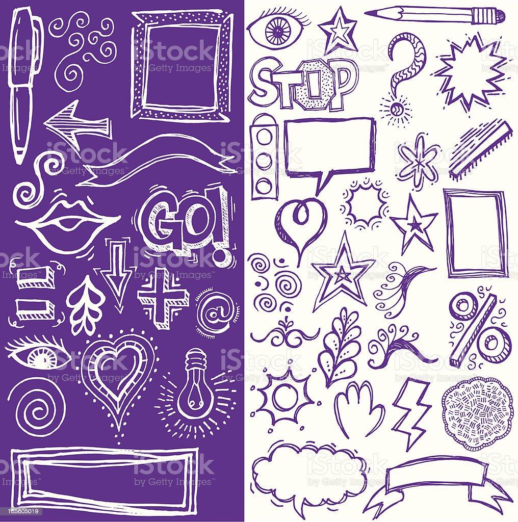 Doodles Star, Hearts, Light Bulb Cartoons royalty-free stock vector art