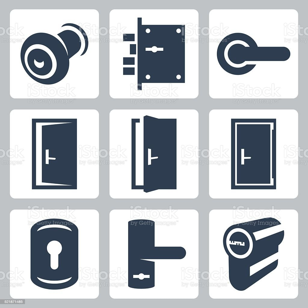 Door and accessory equipment vetor icons set vector art illustration