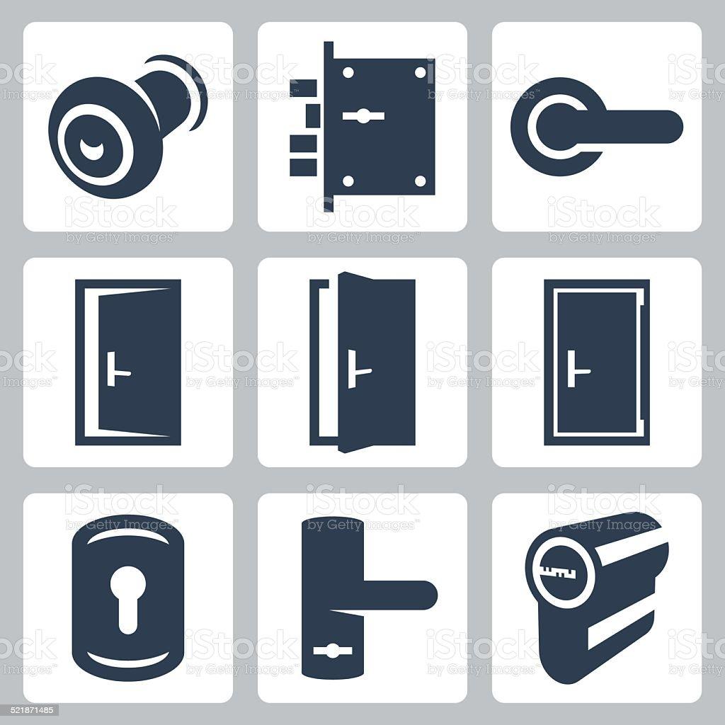 Door and accessory equipment vetor icons set vector art illustration