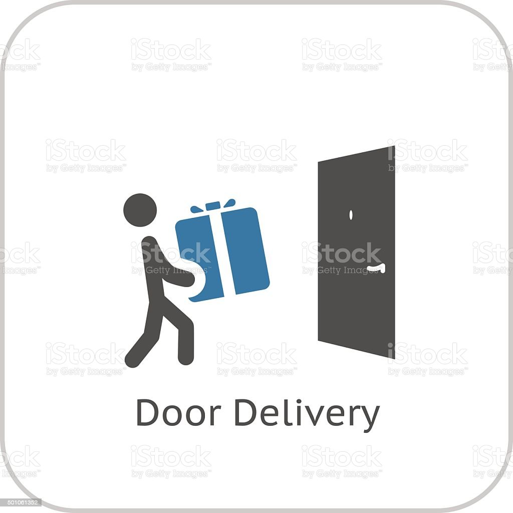 Door Delivery Icon. Flat Design. vector art illustration