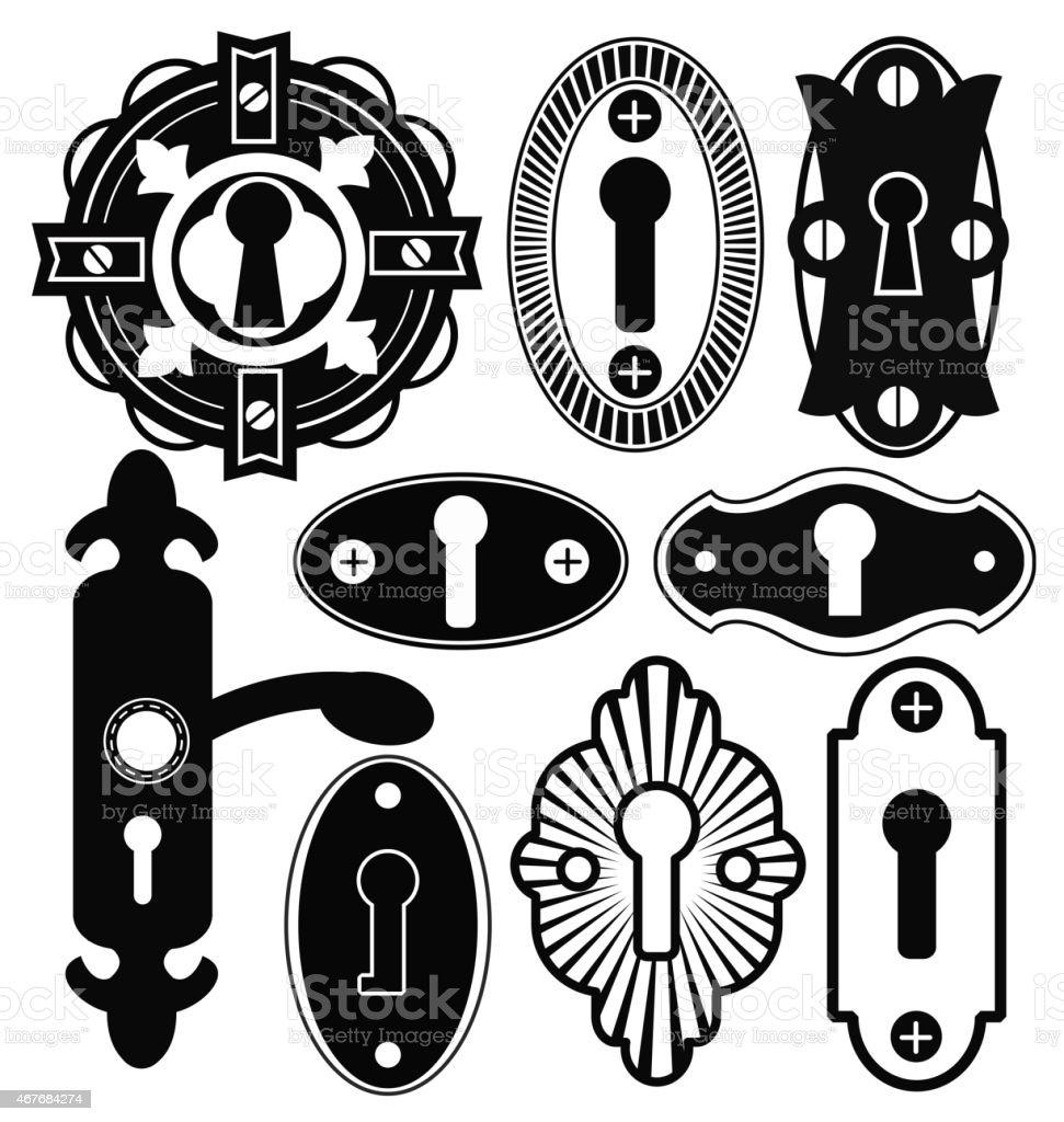 Door Handle Knob Latch Key Keyhole vector art illustration