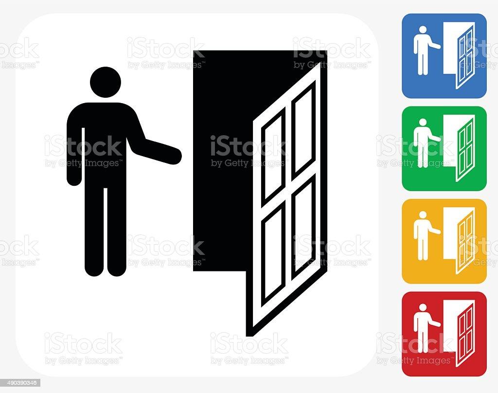 Door Icon Flat Graphic Design vector art illustration