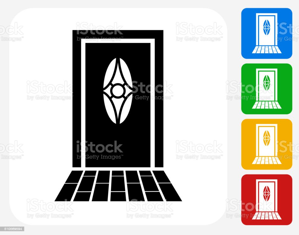 Door Icon Flat Graphic Design vector art illustration