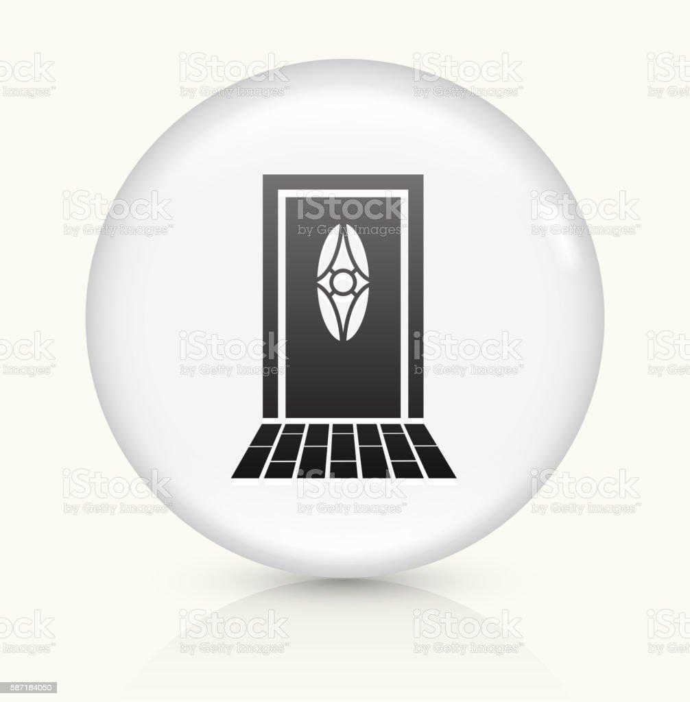 Door icon on white round vector button vector art illustration