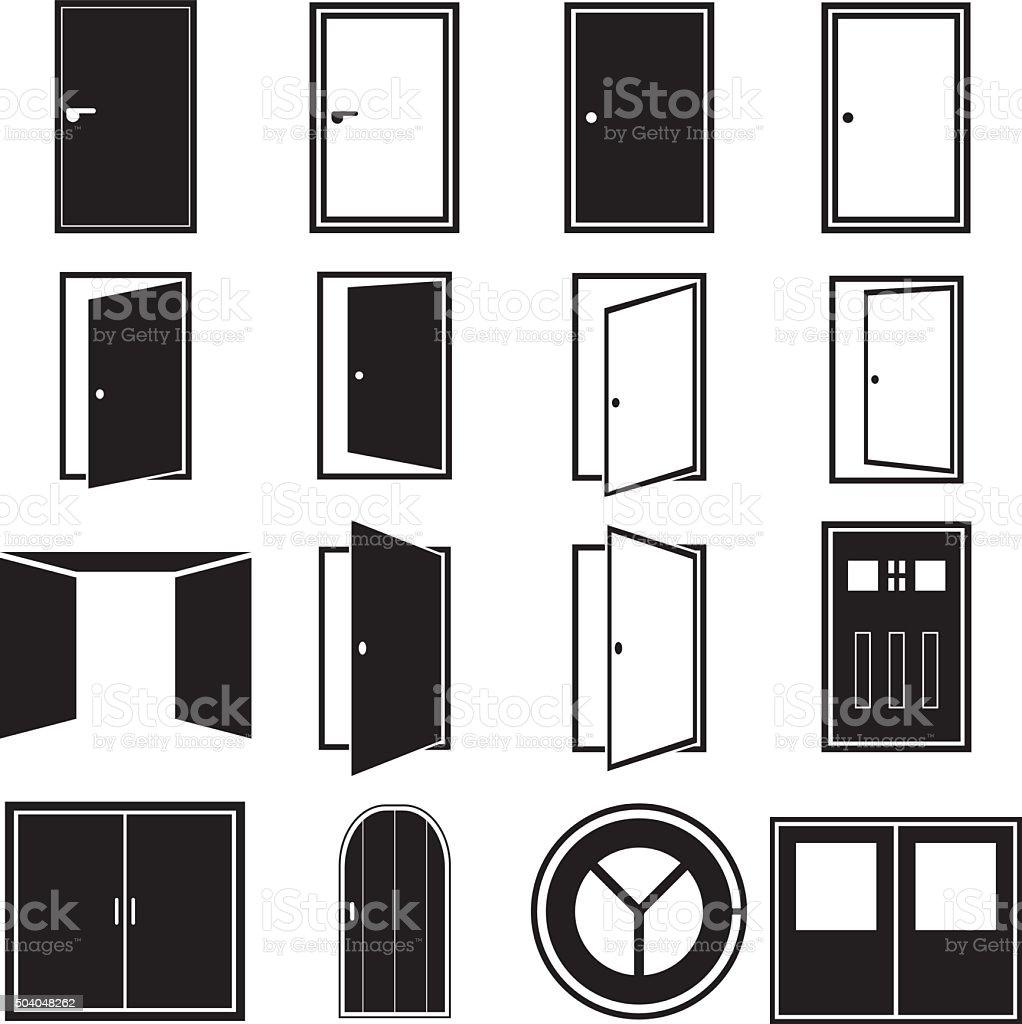 Door Icons vector art illustration