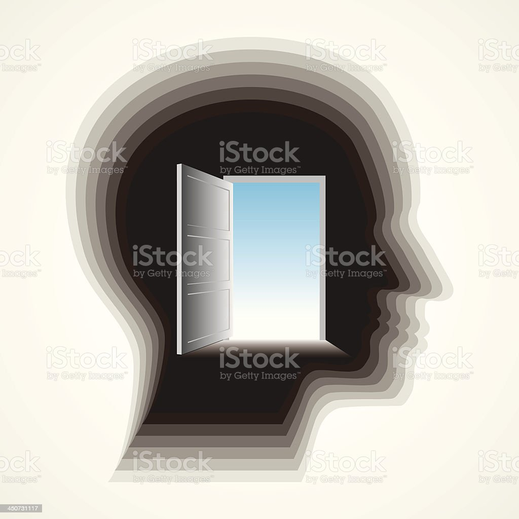 door in man's mind vector art illustration