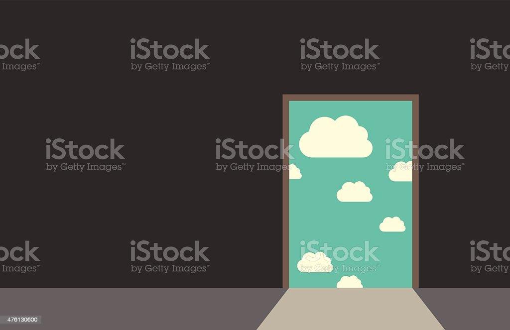 Door leading to sky vector art illustration
